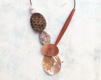 Statement necklace natural stones and copper - asymmetric bold necklace - ethnic jewelry -tribal necklace