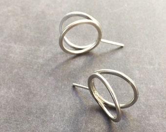 Open circle earrings - stud earrings - sterling silver simple earrings - geometric jewelry - minimalist earrings - contemporary jewellery