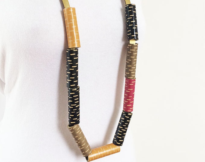 Long statement paper and leather necklace - contemporary paper necklace - mix color paper