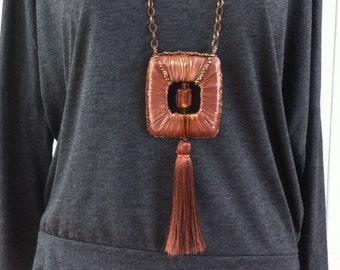 Evening Statement Necklace - Brutalist necklace - bold necklace - tassel necklace - copper and satin necklace