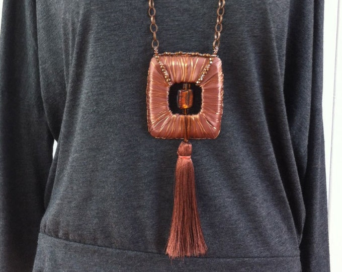 Evening Statement Necklace - Brutalist necklace - bold necklace - tassel necklace - copper and satin necklace