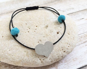 Silver heart bracelet - adjustable heart bracelet - minimalist heart bracelet - bracelet fits wrist