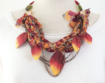 Statement leaf necklace - multi strand fabric and paper necklace - multicolor beaded necklace - floral textile jewelry - gift for her