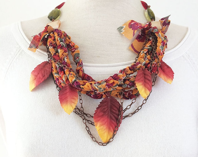Statement leaf necklace - multi strand fabric and paper necklace - multicolor beaded necklace