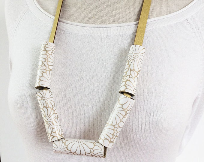 Long statement paper necklace with golden leather - modern floral paper necklace