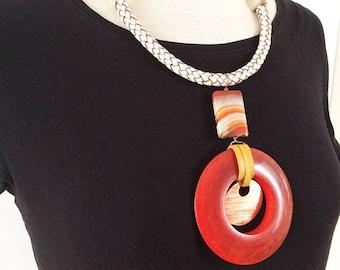 Big pendant tribal necklace - statement bold boho necklace - geometric ethnic necklace