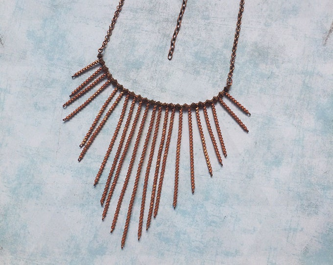 Copper bib Necklace - Boho jewelry - copper jewelry -Statement copper necklace