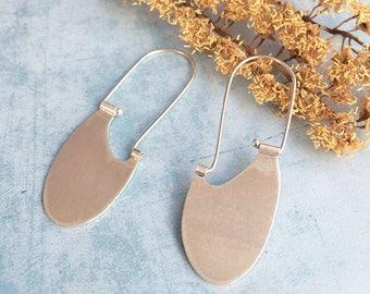 Sterling silver hook earrings - tribal earrings - dangle and drop - oval ethnic earrings - geometric earrings