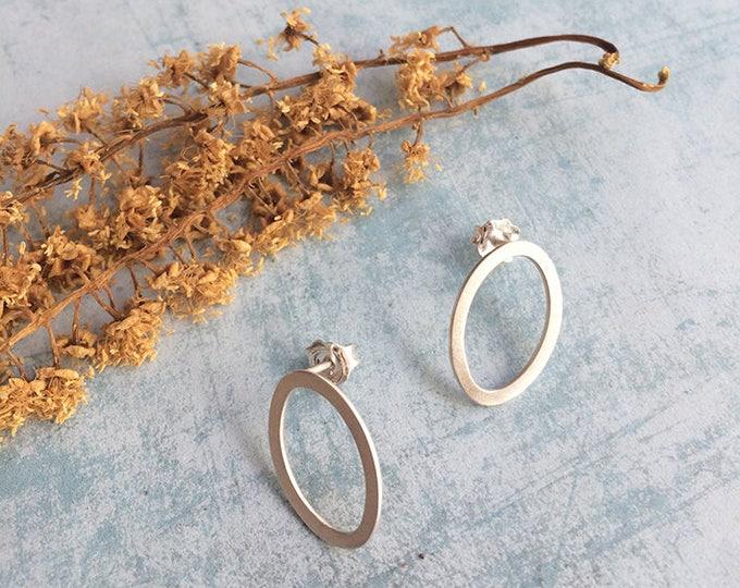 Sterling silver stud earrings - geometric minimalist earrings  - open oval stud earrings