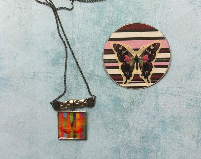 Jewelry set - paper jewelry - butterfly jewellery -butterfly necklace-butterfly brooch -nature jewelry -fantasy- discount jewelry -sale