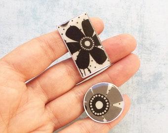 2 paper Rings - statement rings - resin rings - adjustable size rings - flower ring