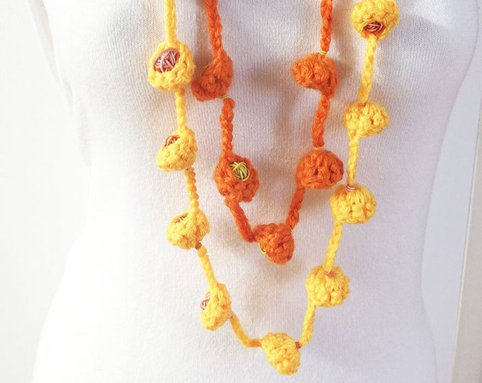 "Wool necklace with 2 laps - Long knitted necklace - wool ""nests"" - wool jewelry"
