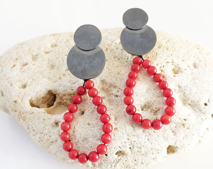 Teardrop red coral earrings - oxidized silver earrings - stud circle with pendant earrings