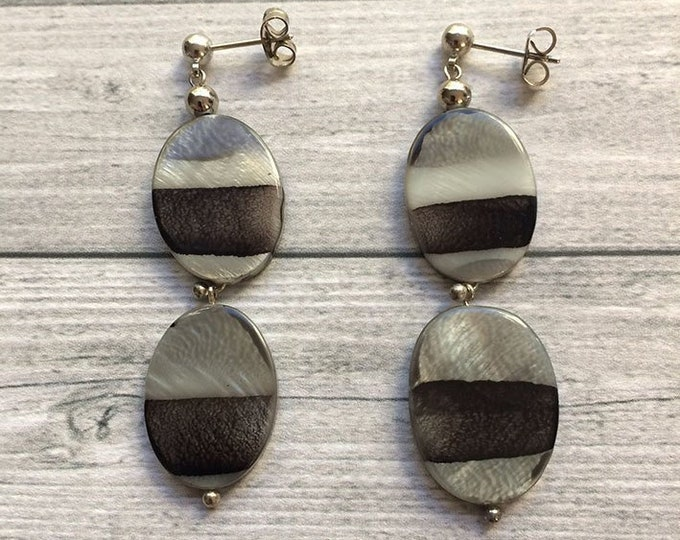 Stud earrings - shades of gray- asymmetric pattern - stud dangle and drop earrings - gift for her - long earrings - pending earrings