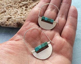 Sterling silver hoop earrings - half moon tribal earrings - turquoise beads - modern geometric earrings - contemporary jewelry -gift for her