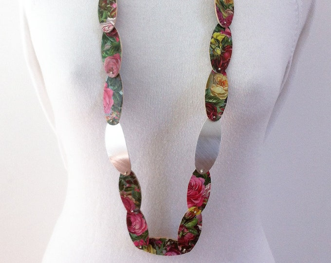 Long statement flower necklace - floral paper necklace - contemporary paper jewelry