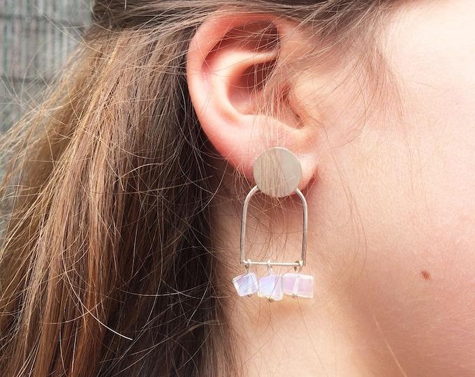 Modern moonstone arch earrings - statement geometric gemstone earrings