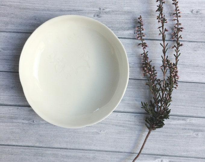 Small porcelain bird bowl - handmade bird jewelry dish - bird decorative bowl