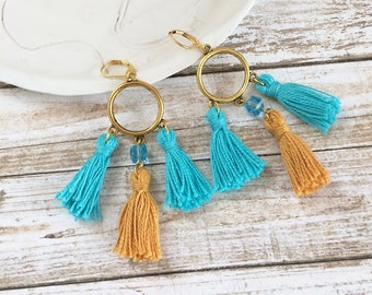 Boho Earrings - tassel earrings - golden earrings - tribal earrings - long fringe earrings - textile jewelry - ethnic jewelry - gift for her