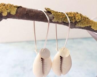 Cowrie shell earrings - sterling silver - seashell earrings - boho jewelry - ocean jewelry - beach wedding - gift for her - mother of pearl