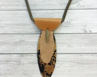 Tribal Bib Necklace - ethnic jewelry - leather necklace - locket necklace