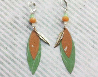 Boho earrings -dangle and drop - paper earrings -clip on earrings