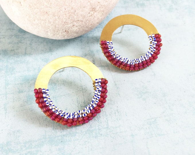 Beaded circle earrings - open circle stud brass earrings - geometric seed beads earrings - statement boho jewelry - gift for her