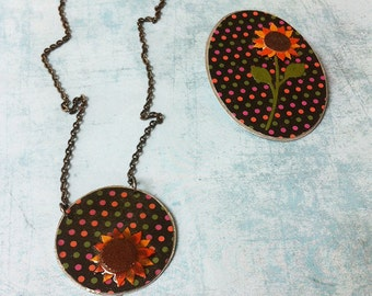 Jewelry Set - paper jewelry - floral jewelry - sunflower paper necklace - sunflower paper brooch -geometric jewelry -fantasy jewelry - dots