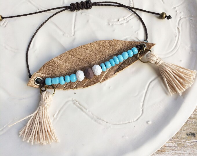 Leather feather bracelet - adjustable boho bracelet - fringe bracelet - bohemian jewelry - hippie jewelry - beaded bracelet - gift for her