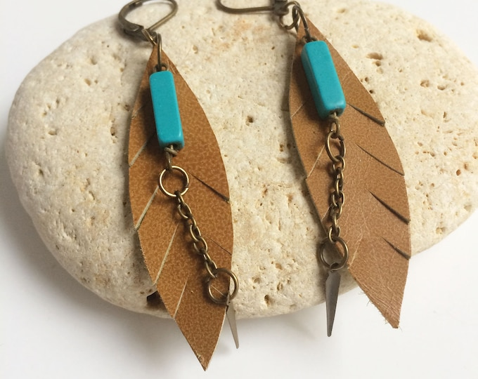 Leather feather earrings - boho earrings - turquoise brass earrings - beach jewelry - tropical vibes - ethnic earrings - gift for her