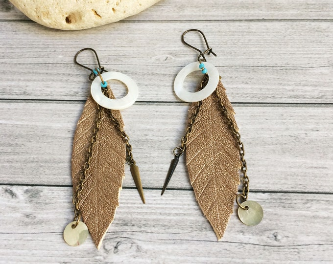 Gold leather feather earrings - bohemian leaf earrings - tribal earrings - mother of pearl - boho jewelry - leather jewelry - gift for her