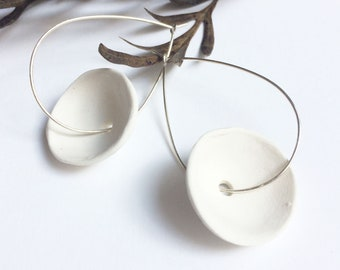 Porcelain hoop earrings - circle ceramic earrings - sterling silver - minimalist ceramic jewelry - statement porcelain jewelry - geometric