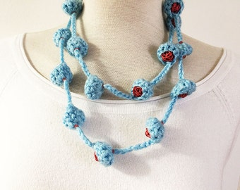 "Wool long necklace - wool ""nests"" - recycled telephone wires - knitted wool necklace - crochet necklace"