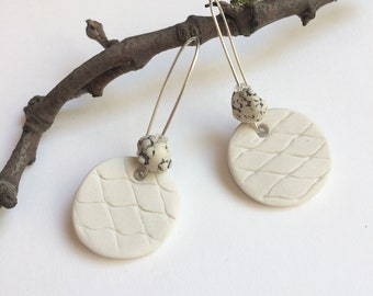 Porcelain circle earrings - white natural stone - sterling silver - porcelain jewelry - statement ceramic earrings - modern ceramic jewelry