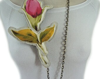 """Statement fabric Necklace - Floral jewellery - """"pillow"""" rose -textile jewelry -brass chain -2 pieces necklace -leafs brooch -gift for her"""