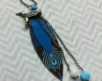 Asymmetric boho necklace - paper necklace - metal bird necklace - leaf shape locket