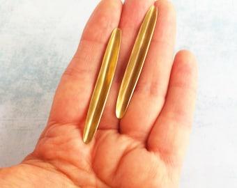 Minimalist brass folded stud earrings - long leaf bar earrings - modern golden earrings