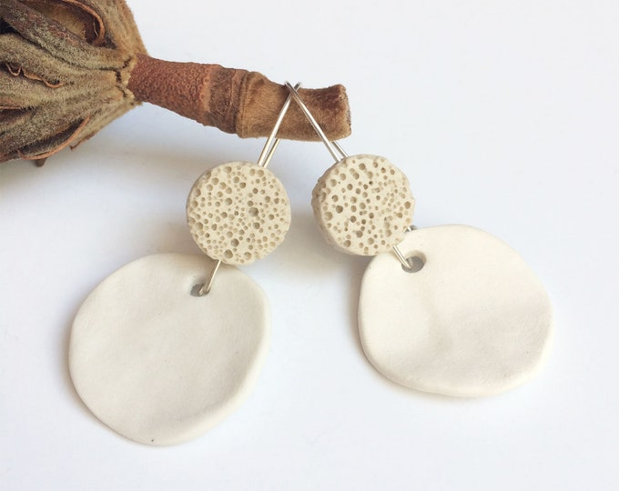 White porcelain and lava circle earrings - modern geometric ceramic earrings