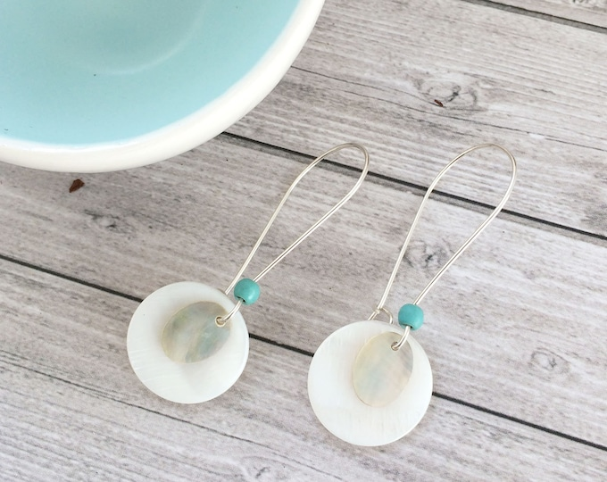 Mother of pearl earrings - shell earrings - long circle earrings - sterling silver - boho chic - beach jewelry - french hook earrings