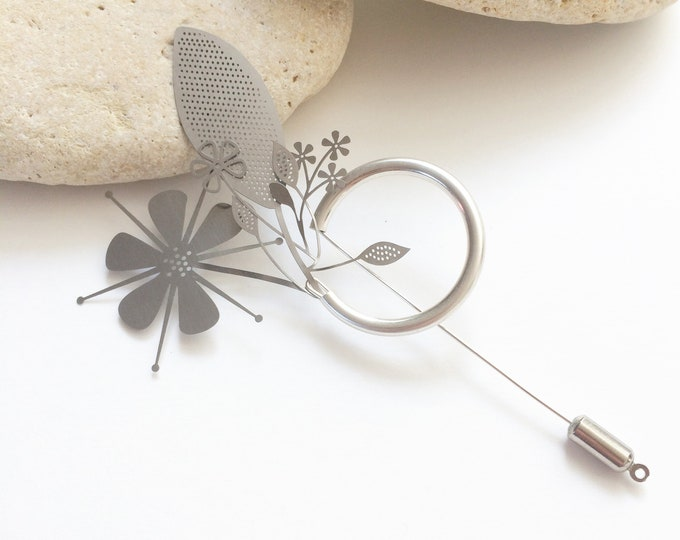 Modern brooch bouquet - statement silver floral brooch - flower steel pin - contemporary floral jewelry