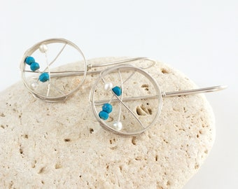 Statement beaded open circle earrings - sterling silver hoop earrings -modern turquoise and freshwater pearls earrings -contemporary jewelry