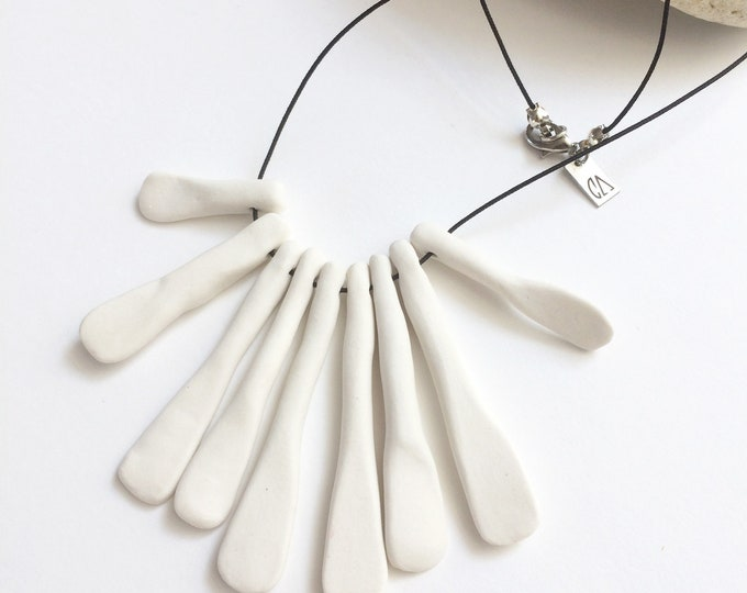 Statement bib ceramic necklace - fringe porcelain necklace - unique modern ceramic jewelry - contemporary jewelry - gift for her