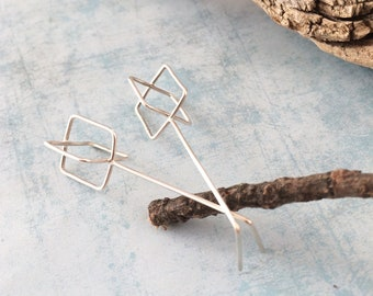 Modern square bar earrings - long minimalist silver earrings -statement geometric earrings -architectural contemporary jewelry -gift for her