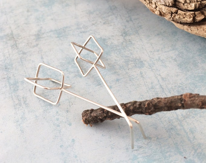 Open squares bar silver earrings - Long geometric earrings - minimalist drop - modern jewelry - contemporary - silver jewelry -gift for her
