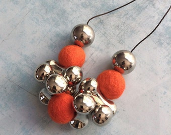 Felt beaded Necklace - orange and silvery -beaded necklace - bib necklace