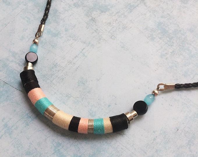 Wrap bib necklace - tribal necklace - ethnic - multicolor necklace