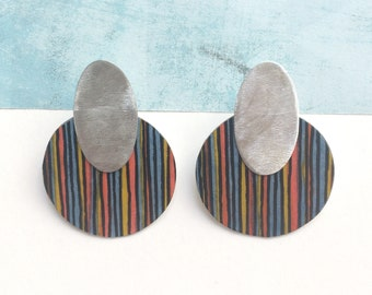 Statement big circle earrings - modern geometric paper earrings - lightweight large earrings