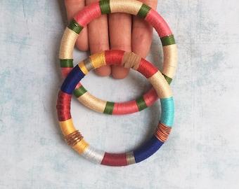 2 Wrap bangle - cuff bracelet -  fabric bracelet - boho