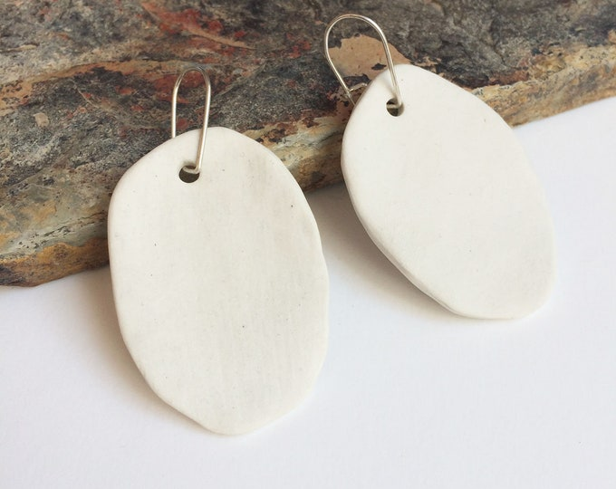 Oval dangle porcelain earrings - white porcelain statement earrings - sterling silver - porcelain jewelry - modern ceramic jewelry