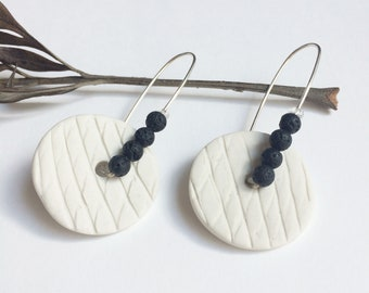 Porcelain circle and lava stone earrings - sterling silver - white ceramic earrings - statement porcelain jewelry - modern porcelain jewelry